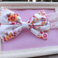 Vintage floral rose fabric bow headbands for babies, toddlers, teens, and adults.          ~FABRIC BOW DEPOT~