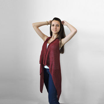 FREE SHIPPING Pure cotton vest Knitted claret long vest Spring summer red vest Lace stitch Multi size Plus size overcoat Extra large S- XXXL