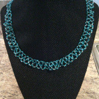 Patterned Seed Bead Necklace - Oceanwaves Necklace - Blue/Turquoise and Silver Seed Beads