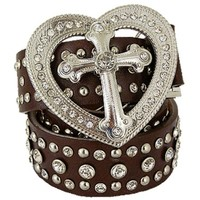 "Women's Cowgirl Western Big Heart Cross Buckle Rhinestone Belt Brown (Medium 40"" - 43"")"