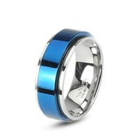 8MM High Polished Comfort-Fit Stainless Steel Ring with Blue Plated Spinning Center - Crazy2Shop