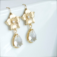 Dangly Golden Flower and Crystal earrings for the Bride