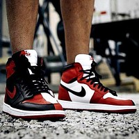 Air Jordan 1 Tide brand color matching high-top shoes-1