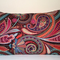 """Handmade Pillow Cover - Multi Color Paisley - READY TO SHIP - 12"""" X 20"""" Lumbar, Rectangle, Oblong with Envelope Closure"""