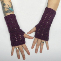 Crochet Wrist Warmer Texting Gloves in Eggplant, Wool Blend, ready to ship.