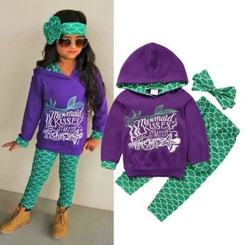 Boutique Toddler Kids Girls Mermaid Hoodie Tops Pants Outfits Clothes 3Pcs Set