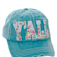 Floral Hey Ya'll Distressed Cotton Baseball Cap Hat Turquoise, Embroidered On Torn Denim Decor