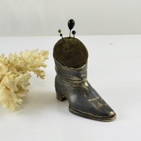 Boot Pincushion Antique Silver Plate Boot Shoe Style Victorian Era Sewing Notion Tarnished Vintage Early Curio