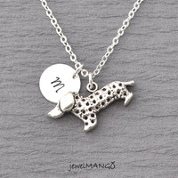 Dog Necklace, Gift For Dog Owner, Dachshund pendant,  Pet Lover Necklace antique silver Dog Charm, Initial Necklace dog initial necklace
