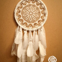 Dream Catcher - White Flower - Unique Dream Catcher with White Handmade Crochet Web and White Feathers - Mobile, Home Decor, Decoration