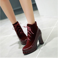 Lace Up Patent Leather Women Boots Platform High Heels Shoes Woman 2016 3381