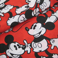 Vintage Disney Mickey Mouse Classic Red Black Flat Sheet Twin Size Bedding Craft Fabric Clean Used