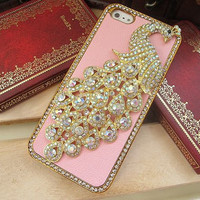 Swarovski Diamond Crystal Alloy White Color Peacock iPhone 5 Case Cover // Light Pink Leather iPhone Case // Unique iPhone 4s Hard Case