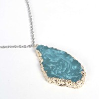 Audrina Edged Crystal Stone Pendant Necklace