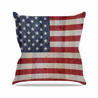 """Bruce Stanfield """"USA Flag On Spruce"""" Blue Red Throw Pillow"""
