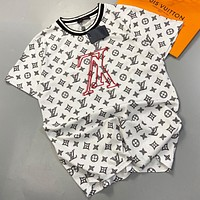 LV New fashion monogram print couple top t-shirt White