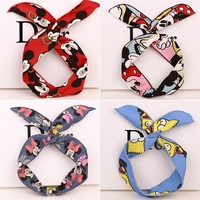 2016 new fashion hair accessories Korean female lovely Mickey pattern printed cloth headband