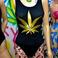 SWEET LORD O'MIGHTY! GOLD WEED BODYSUIT