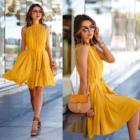 Women Summer  Sleeveless Evening Party Beach Chiffon Short Mini Dress