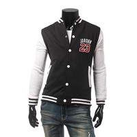 Fashion Autumn Winter Men Baseball Hoodies Single Breasted Baseball Jordan 23 jacket Baseball Uniform Fleece Warm Sweatshirt
