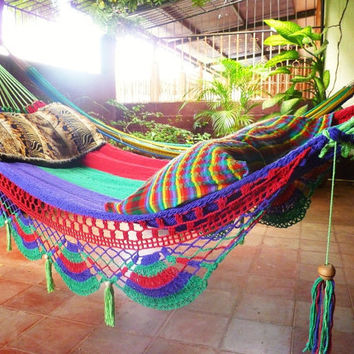 Tri Colors Red Green Purple Double Hammock handwoven by hamanica