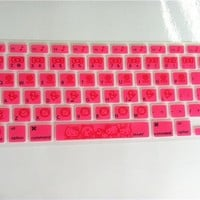 Ultra-thin Cute HOT Pink Hello Kitty Silicone Keyboard Cover Skin Protector for for Apple MacBook Air Pro 13 15 17