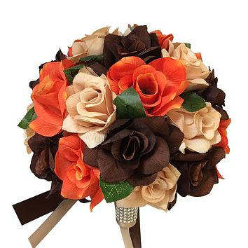 Bouquet-Orange Tan Brown Roses