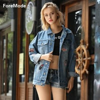 foremode 2016 Korea Loose Jeans Jacket Blouse Badge Style Denim Jacket  women print jackets women basic coats