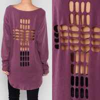 LAST ONES!! S Cut Out Cross Back Knit Top Long Sleeve High Low Open Mullet Shirt