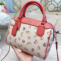 COACH Fashion New Fruit Print Leather Pillow Shape Shoulder Bag Crossbody Bag Handbag
