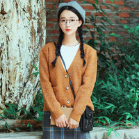 Stylish Solid Long Sleeve Button Down Woman Cardigan