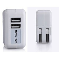 Micro-Tech® (Fast) Dual Port USB 2.1A 10W AC Travel Wall Charger for Apple iPad 2, New iPad 3, iPhone 4 4s 3Gs 3G, iPod Touch And More Devices (USB Cable not included) In Micro-Tech® RETAIL PACKAGING