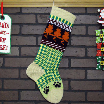 Cat Lover Christmas Stocking, Fair Isle Knit in Off-White with Orange Cats and Navy Paws, Can be Personalized, Housewarming Gift, Baby Gift
