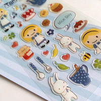 love cooking blonde hair little girl sticker little chef my pet white rabbit tea party sticker lovely gift deco seal label diary scrapbook