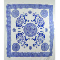 Blue and White Four Elephant Mandala Wall Tapestry Fringed Throw Bedding Bedspread on RoyalFurnish.com
