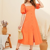 Single Breasted Front Puff Sleeve Tea Dress