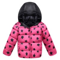 Winter Boy Girl Children Garments Down Coat Thick   rose   100cm
