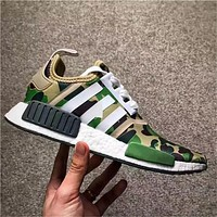Originals 2017 NMD R1 X Bapes Running Sneakers Green Camo 2016 Releas Basf Boost Women Men Original Quality With Box