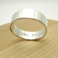 Secret Promise Ring - You Have My Heart - choose your size silver Any Age Unisex