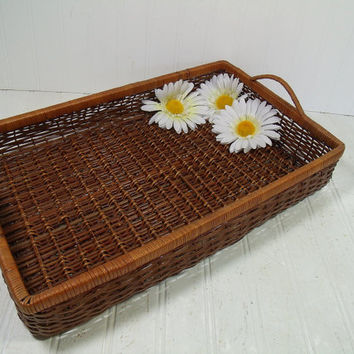 Vintage Natural Wicker Woven Tray with 2 Handles - Rectangular Cosmetic Vanity Organizer - BoHo Shabby Chic Challenged Workshop Storage Bin