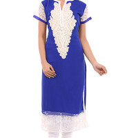 BlueGeorgette Kurti with Floral Embroidery