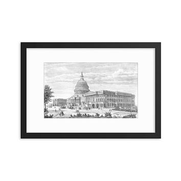 Capitol Etching 1889 Framed poster