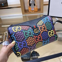 GUCCI New Hot Sale Women's Color Print Letter Crossbody Bag Shoulder Bag