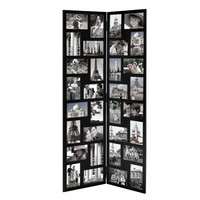 Black Wood Hinged Folding Screen-Style Collage Picture Photo Frame 32 Openings
