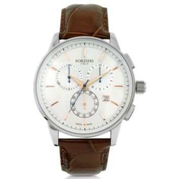 Forzieri Designer Men's Watches Viareggio Silver Tone Stainless Steel Case and Brown Embossed Leather Men's Chrono Watch