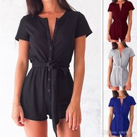 Summer Women Clothes Short Sleeve Scoop Neck Skinny Sashes Pants Split T Shirt Women's Sexy Jumpsuits And Rompers Plus Size Women Clothing