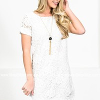 Floral White Crochet Dress