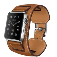 Apple Watch Hermès Cuff, 42mm Stainless Steel Case with Fauve Barenia Leather Band