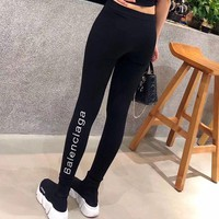 DCCK6HW Balenciaga' Women All-match Casual Simple Fashion Letter Embroidery Tight Thickened Leggings Pants Trousers Sweatpants