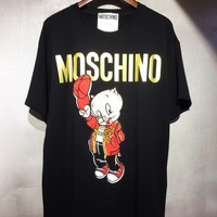 Moschino 2019 new pig embroidery gilding logo round neck half sleeve T-shirt